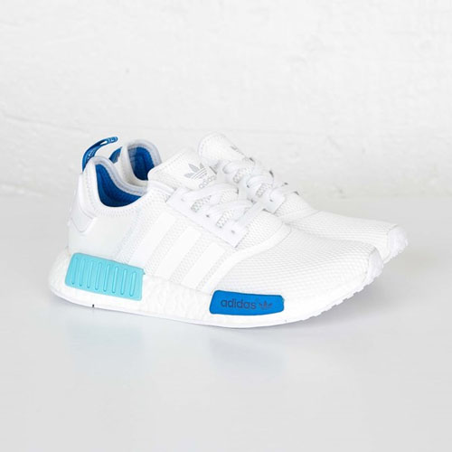 Adidas NMD Runner Womens Boost Primeknit Mesh White Blue Glow S75235 - Click Image to Close